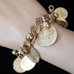 Vintage Estate Goldtone Coin Charm Bracelet EUC
